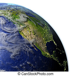 North America on realistic model of Earth