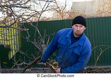 A man pulls a branch from a tree - Young gardener in working...