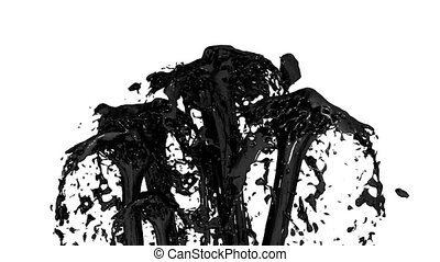 Beautiful fountain spray liquid like black paint or oil, fountain with many liquid streams rising high. 3d render with very high detail. Alpha channel is included use alpha . Version 3