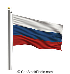 Flag of Russia with flag pole waving in the wind over white...