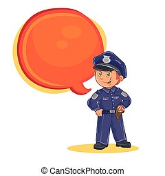 Vector icon of small child police man. Design element, print...