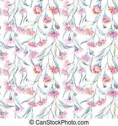 Watercolor eucalyptus vector pattern - Beautiful vector...