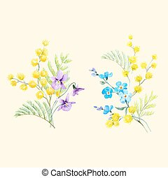 Watercolor mimosa vector illustration - Beautiful seamless...
