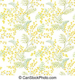 Watercolor mimosa vector pattern - Beautiful seamless vector...