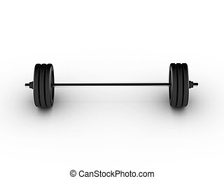 Barbell view from front on white background. High quality 3d...