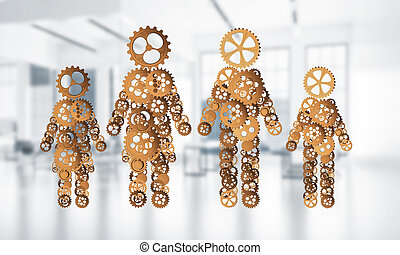 Concept of cooperation or maybe family with two figures presenti