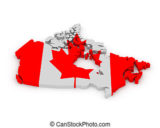 Land of Canada painted in color of canadian flag isolated on...