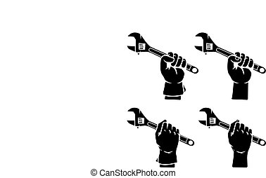 Hand Grab Adjustable Wrench Silhouette - Vector illustration...