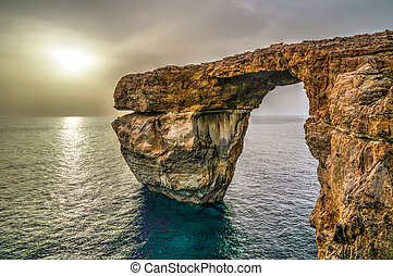 Sea view to Azure window natural arch, now vanished, Gozo...