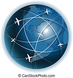 plane - Illustration, plane on blue globe on white...