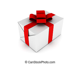 Gift. White box with ribbon isolated on white background....