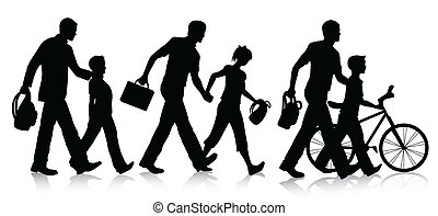 Going to school silhouettes - Vector silhouette set isolated...