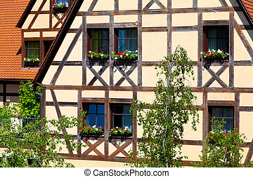 Half-timbered Architecture - Typical half-timbered houses in...