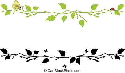 set of dividing with birch tree - set of vector borders with...