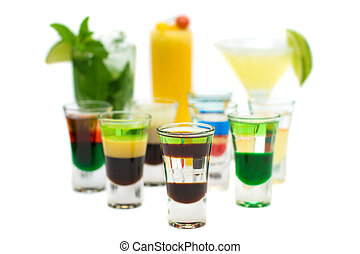 Alcohol Shot Drink on blurred Cocktails - Isolated