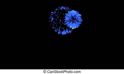 Colorful fireworks at night. Spectacular firecrakers 3d render. Blue version 6
