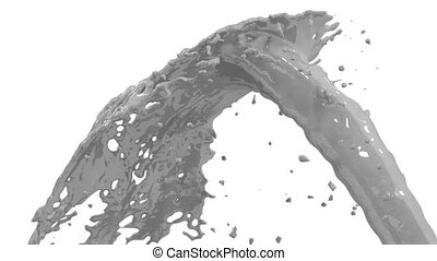 Beautiful fountain grey liquid splash, fountain 3d on white background with alpha matte. Paint stream is rising high. 3d with very high detail. Version 16