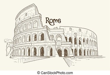 Colosseum, vector illustration, hand drawn, sketch -...