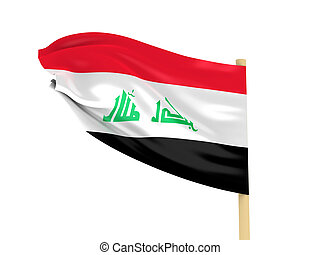 Iraq flag - Flag of Iraq on pole on white background. High...