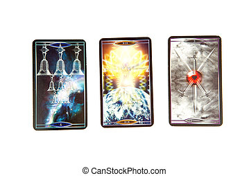 Tarot cards on white background. Quantum tarot deck....