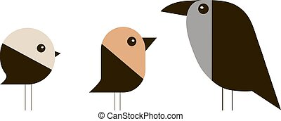 Sparrow, bullfinch and crow in a minimalist style