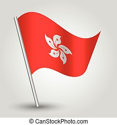vector waving simple triangle hongkonger flag on slanted silver pole - icon of hong kong with metal stick