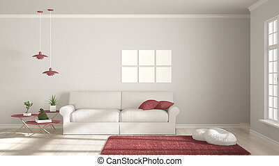 Minimalist room, simple white and red living with big window, scandinavian classic interior design