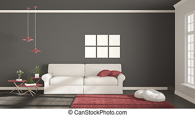 Minimalist room, simple white, gray and red living with big window, scandinavian classic interior design