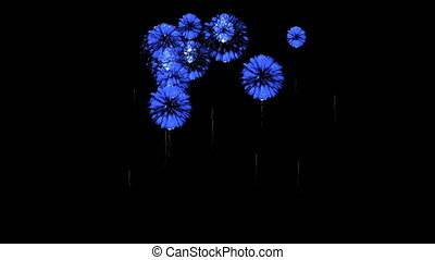Colorful fireworks at night. Spectacular firecrakers 3d render. Blue version 9