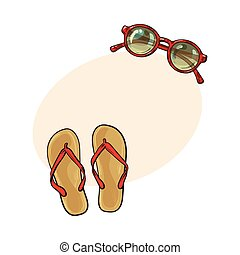 Flip flops and round sunglasses, summer objects, vacation...
