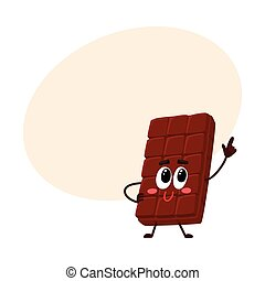 Chocolate bar character with funny face, speaking and pointing up
