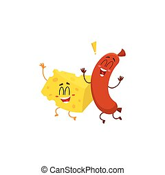 Frankfurter sausage and cheese chunk characters dancing happily together