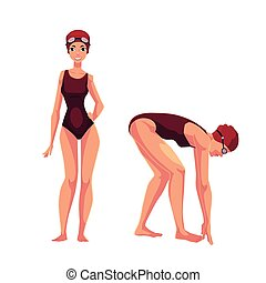 Female swimmer in swimming suit, cap, standing and starting