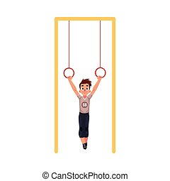 Teenage Caucasian boy hanging on gymnastic rings at the...