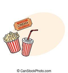 Cinema objects - popcorn bucket, soda water and retro style ticket