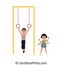 Friends at playground, hanging on gymnastic rings, spinning...