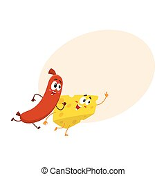 Frankfurter sausage and cheese chunk characters running, hurrying somewhere together