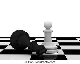 Weak won strong. Good won evil. White pawn won black king on...