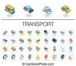 Transport and transportation isometric icons. 3d vector -...