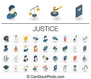 Justice and Law isometric icons. 3d vector - Isometric flat...