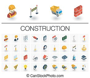 Construction, industrial isometric icons. 3d vector