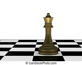 Golden chess queen on chessboard isolated on white...