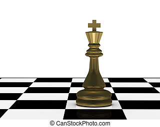 Golden chess king on chessboard isolated on white...