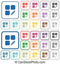 Edit component outlined flat color icons - Edit component...