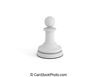 White pawn on white background. High quality 3d render.