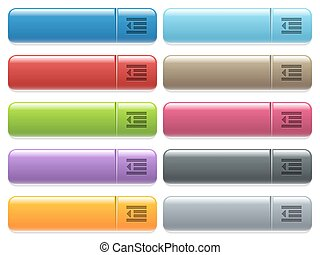 Decrease text indentation icons on color glossy, rectangular...