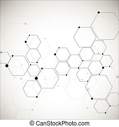 Abstract hexagonal structures in technology and science...