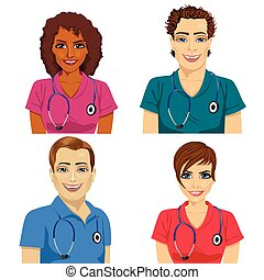 group of young hospital workers in scrubs over white...