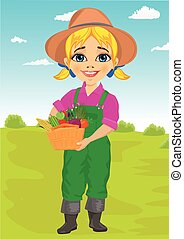 Cute little girl playing gardener with basket full of fresh vegetables