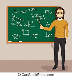 young male math teacher standing with a pointer next to a blackboard